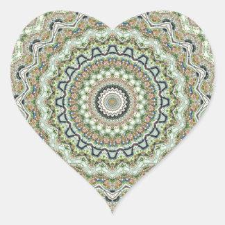 Green Kaleidoscope Heart Stickers
