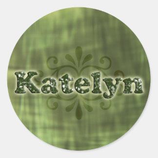 Green Katelyn Round Sticker