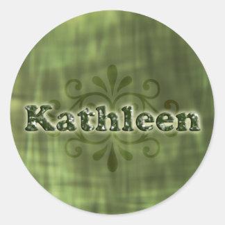 Green Kathleen Round Sticker