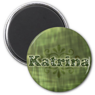 Green Katrina 6 Cm Round Magnet