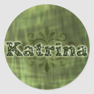 Green Katrina Round Stickers