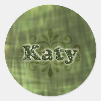 Green Katy Round Sticker