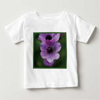Green katydid on purple anemones baby T-Shirt