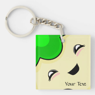Green Kawaii Tickle Monster Double-Sided Square Acrylic Key Ring