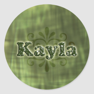 Green Kayla Round Sticker