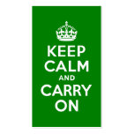 Green Keep Calm and Carry On Double-Sided Standard Business Cards (Pack Of 100)