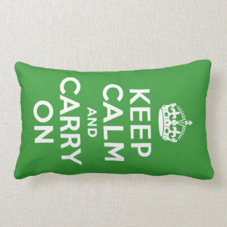 Green Keep Calm and Carry On Lumbar Cushion