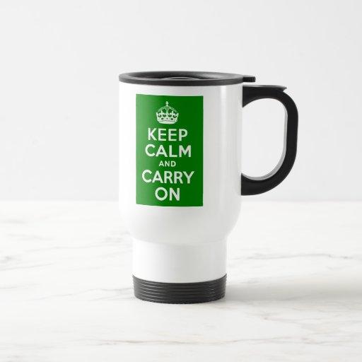 Green Keep Calm and Carry On Coffee Mugs