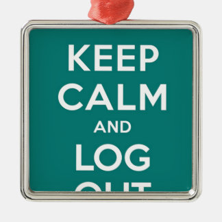 Green Keep Calm And Log Out Silver-Colored Square Decoration