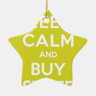 Green Keep Calm & Buy Stuff Ceramic Star Decoration