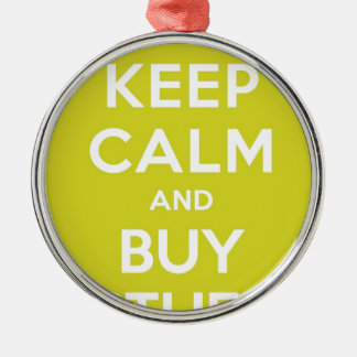 Green Keep Calm & Buy Stuff Silver-Colored Round Decoration