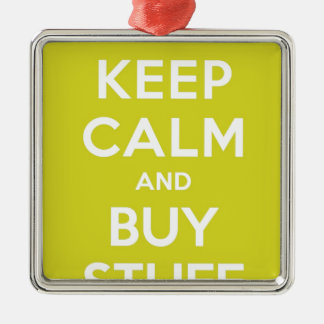 Green Keep Calm & Buy Stuff Silver-Colored Square Decoration