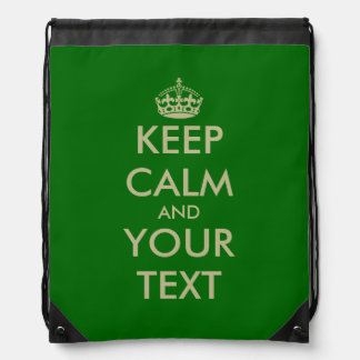 Green Keep Calm drawstring backpack bag