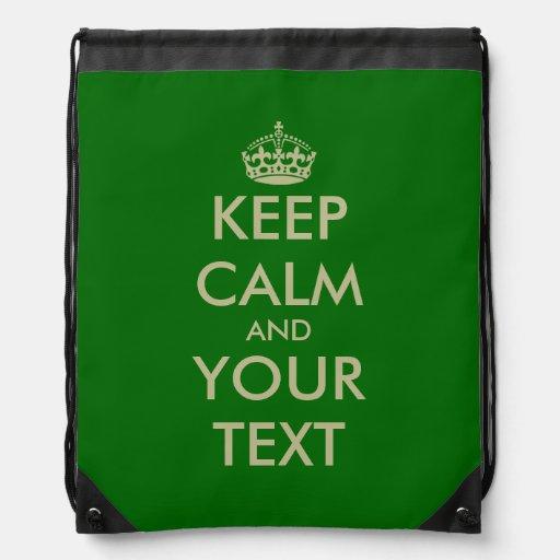 Green Keep Calm drawstring backpack bag