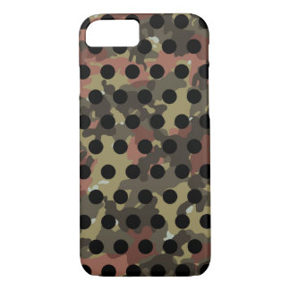 Green Khaki Brown Camo Black Polka Dot iPhone 8/7 Case