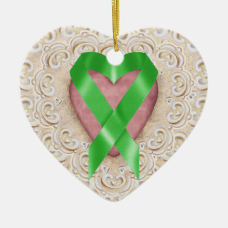 Green Kidney Cancer Ribbon From the Heart - SR Christmas Ornament