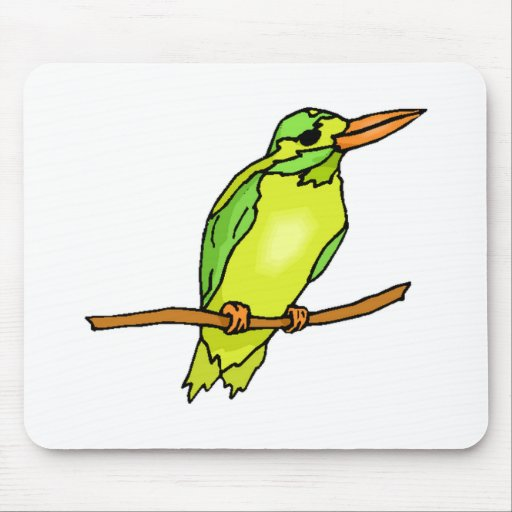 Green Kingfisher Mouse Pads