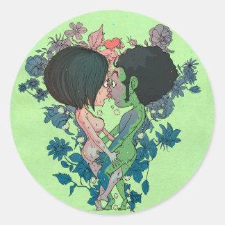 Green Kiss Round Sticker