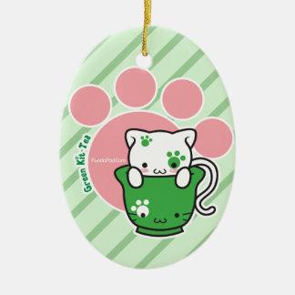 Green Kit-Tea Ornament