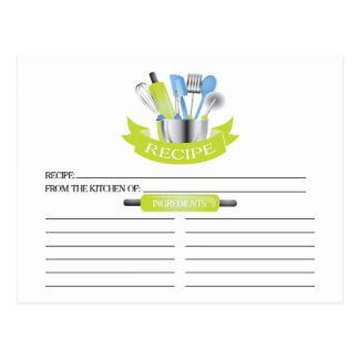 Green Kitchen Tools Bridal Shower Recipe Cards Postcard