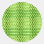 Green Knit Round Sticker