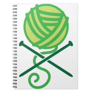 Green knitting wool and crossbones needles spiral note book
