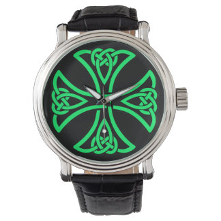 Green Knot Men's Vintage Black Leather Strap Watch