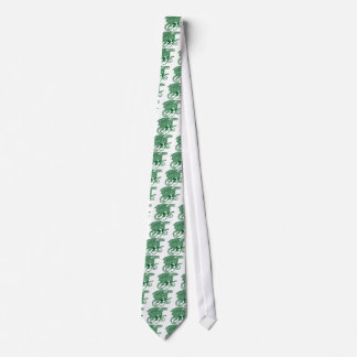 Green Knotwork Dragon on White Tie