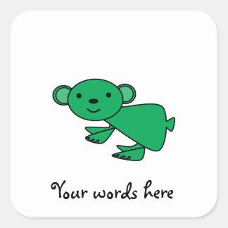 Green koala square sticker