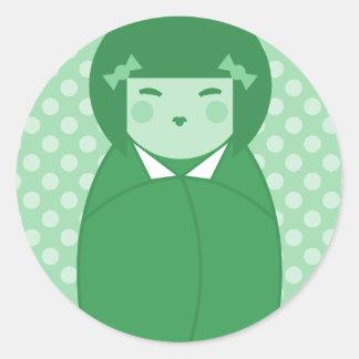 Green Kokeshi Doll Pop Art Round Sticker