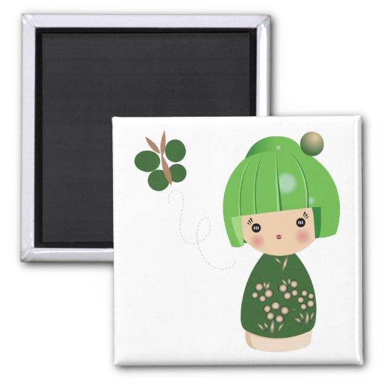 Green Kokeshi Triplet Magnet