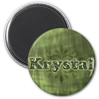Green Krystal 6 Cm Round Magnet