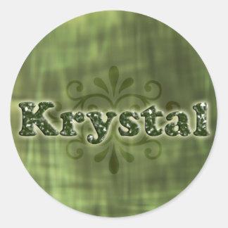 Green Krystal Round Sticker