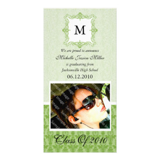 Green Lace Damask Initial Graduation Photo Card