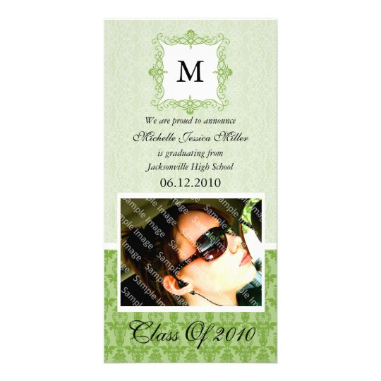 Green Lace Damask Initial Graduation Photo Card