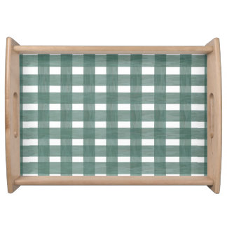 Green Lace Gingham Serving Tray