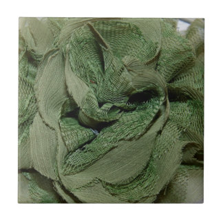 Green Lace Twist Vintage Add Text Small Square Tile