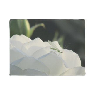 Green Lacewing on White Rose Doormat