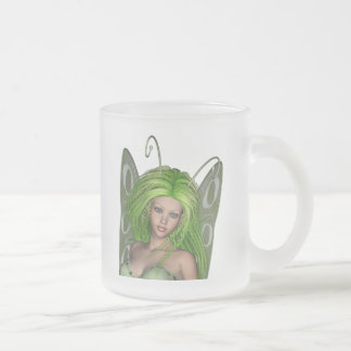 Green Lady Fairy 1 - 3D Fantasy Art - Frosted Glass Mug