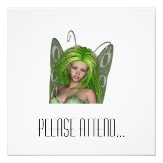 Green Lady Fairy 1 - 3D Fantasy Art - 5.25x5.25 Square Paper Invitation Card