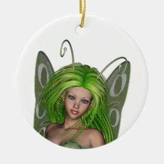 Green Lady Fairy 1 - 3D Fantasy Art - Round Ceramic Decoration