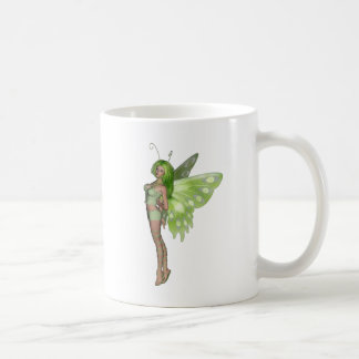 Green Lady Fairy 2 - 3D Fantasy Art - Basic White Mug