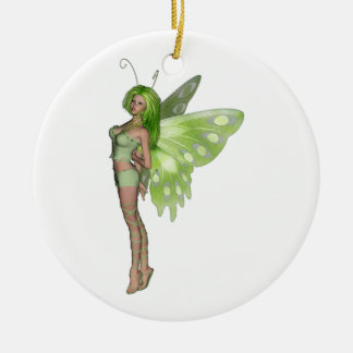 Green Lady Fairy 2 - 3D Fantasy Art - Double-Sided Ceramic Round Christmas Ornament