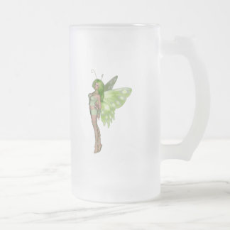 Green Lady Fairy 2 - 3D Fantasy Art - Frosted Glass Mug