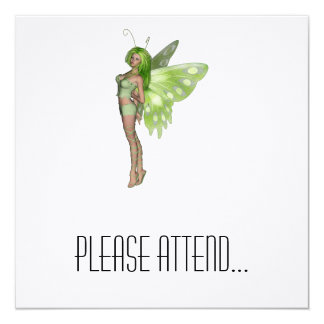 Green Lady Fairy 2 - 3D Fantasy Art - 5.25x5.25 Square Paper Invitation Card