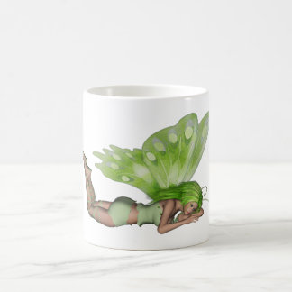 Green Lady Fairy 3 - 3D Fantasy Art - Basic White Mug