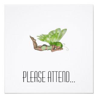 Green Lady Fairy 3 - 3D Fantasy Art - 5.25x5.25 Square Paper Invitation Card