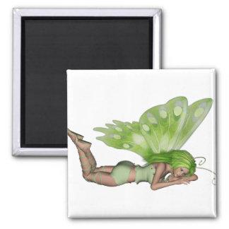 Green Lady Fairy 3 - 3D Fantasy Art - Refrigerator Magnet