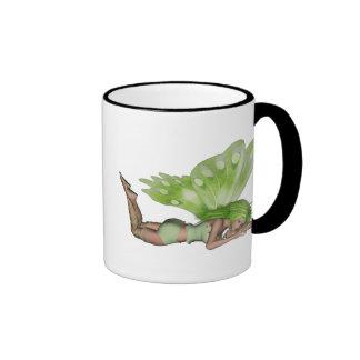 Green Lady Fairy 3 - 3D Fantasy Art - Ringer Mug