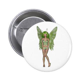 Green Lady Fairy 4 - 3D Fantasy Art - Pinback Buttons